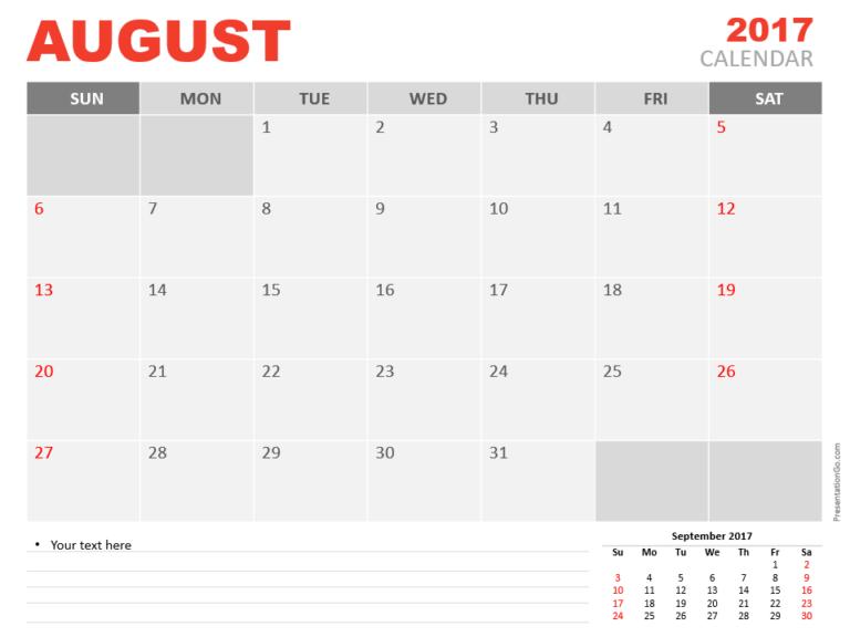 Free August 2017 PowerPoint Calendar Start Sunday