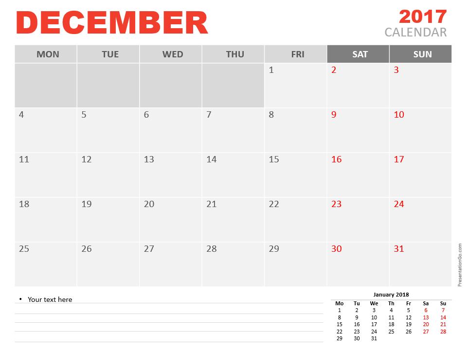 Free December 2017 PowerPoint Calendar Start Monday
