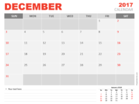 Free December 2017 PowerPoint Calendar Start Sunday