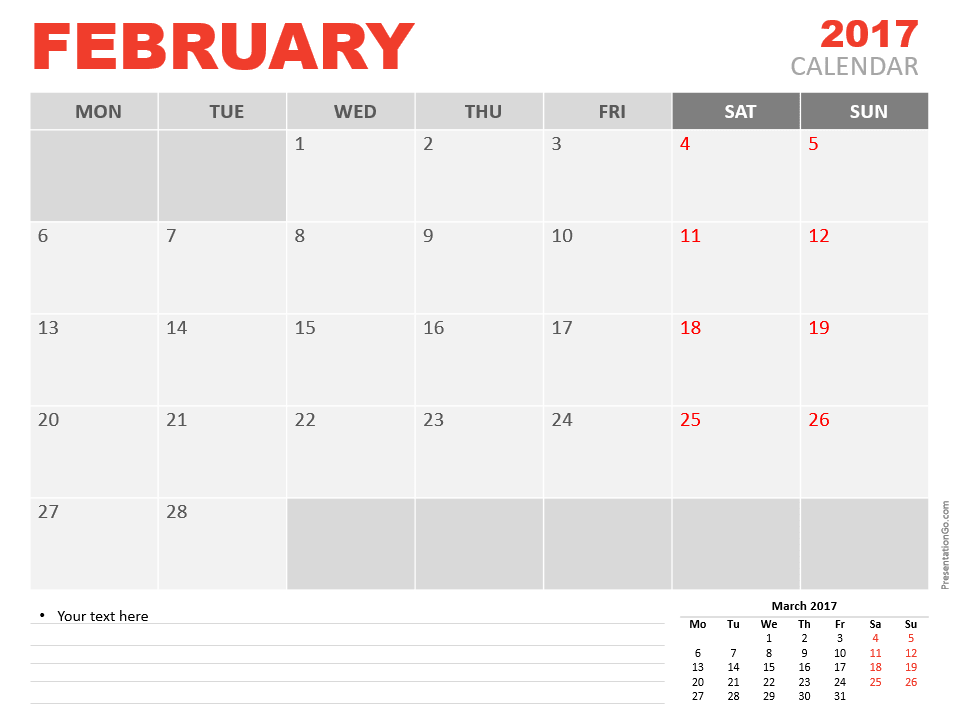 Free February 2017 PowerPoint Calendar Start Monday