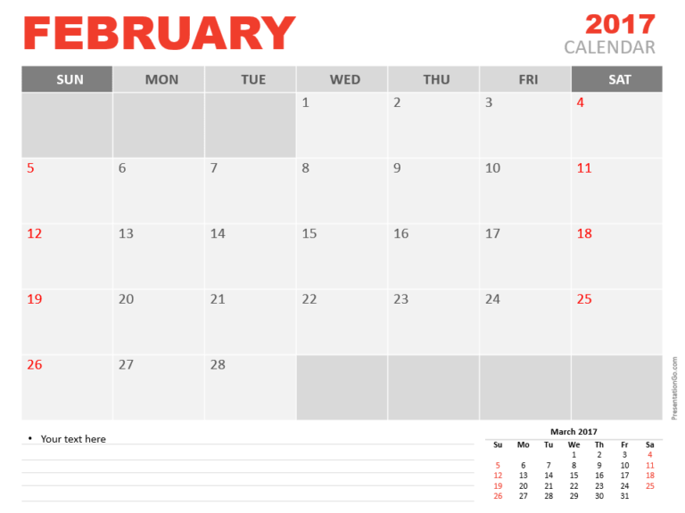 Free February 2017 PowerPoint Calendar Start Sunday