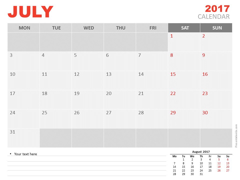 Free July 2017 PowerPoint Calendar Start Monday