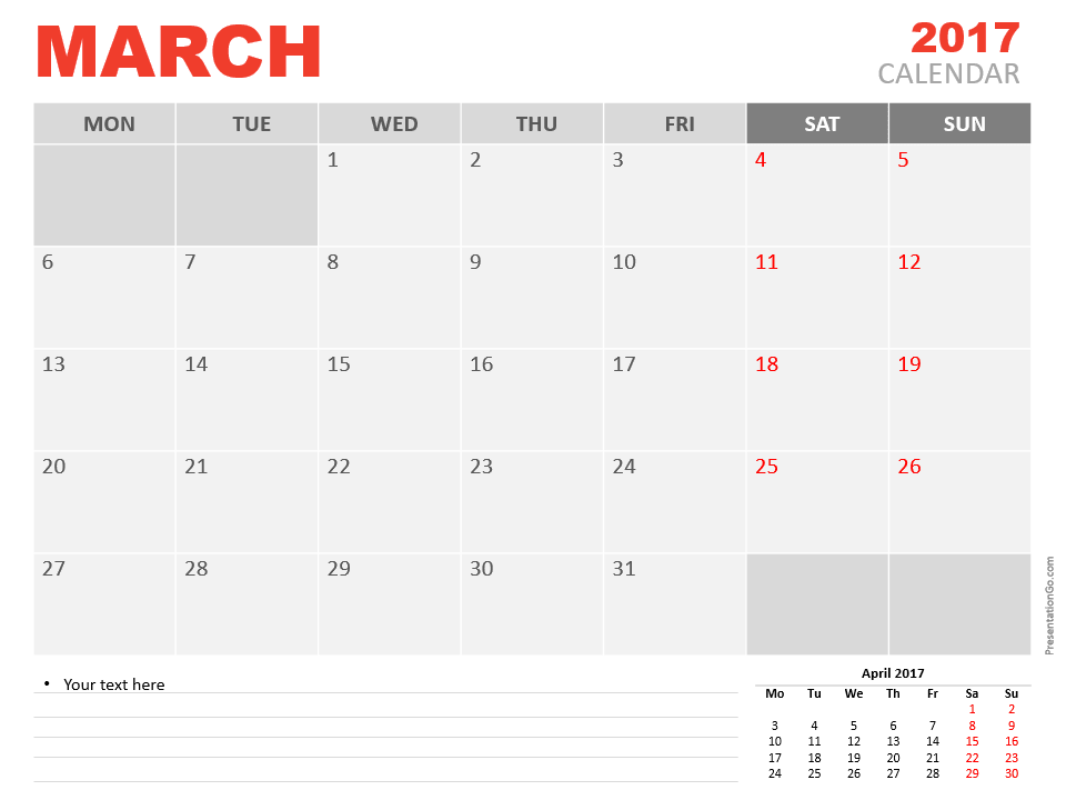 Free March 2017 PowerPoint Calendar Start Monday