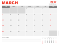 Free March 2017 PowerPoint Calendar Start Sunday