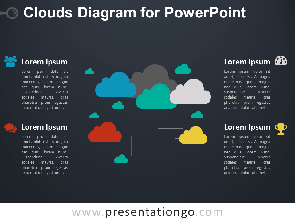 Clouds Diagram for PowerPoint - Dark Background