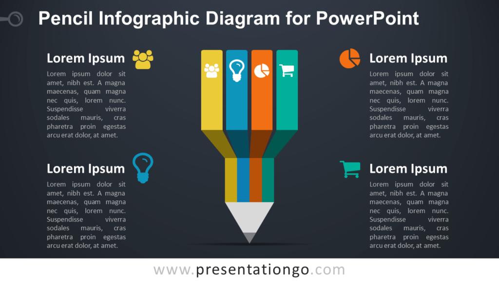 Infographic Pencil PowerPoint - Dark Background