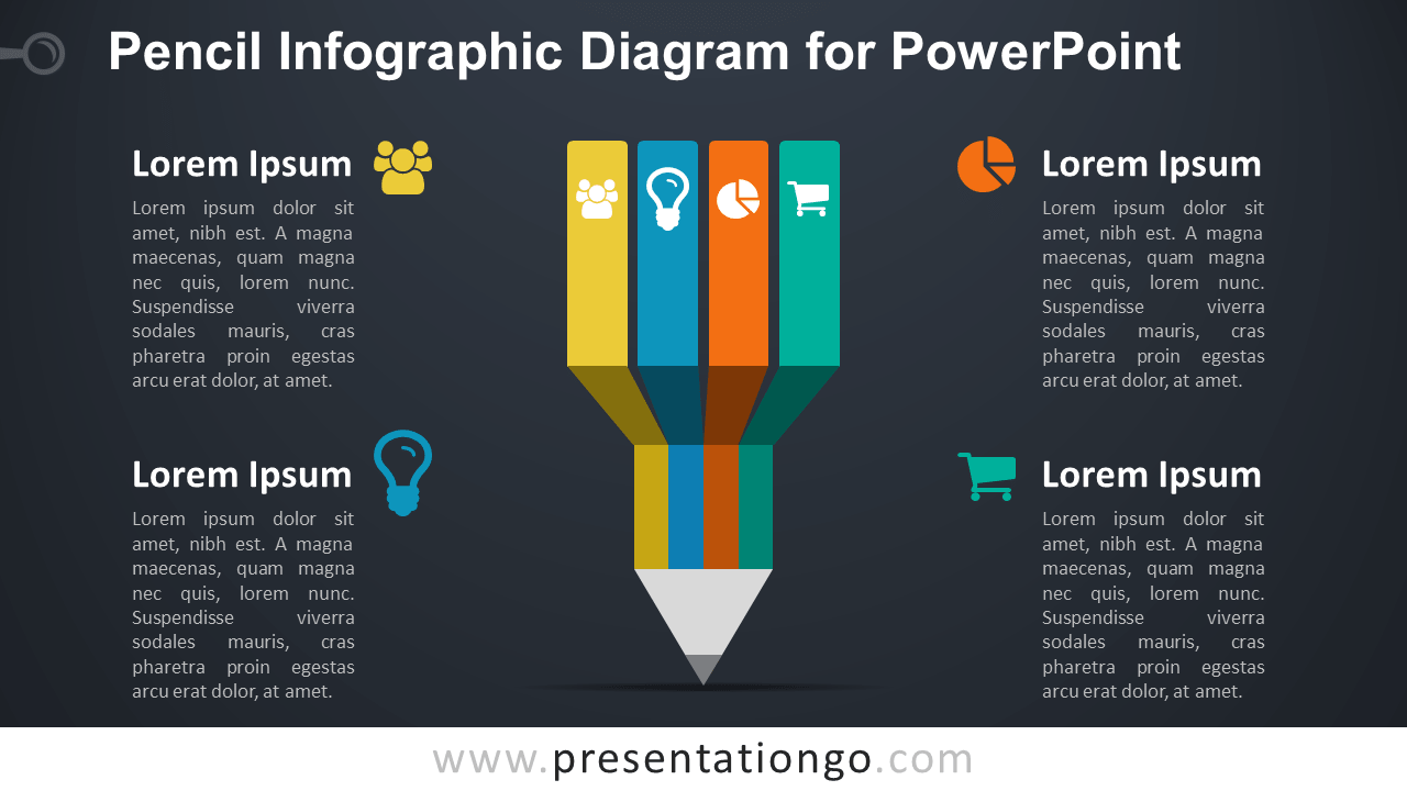 Infographic Pencil PowerPoint - Dark Background