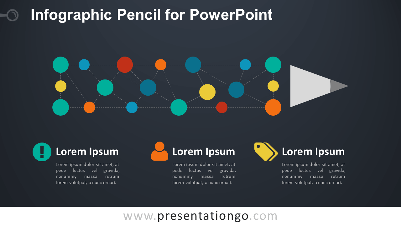 Pencil Diagram for PowerPoint - Dark Background