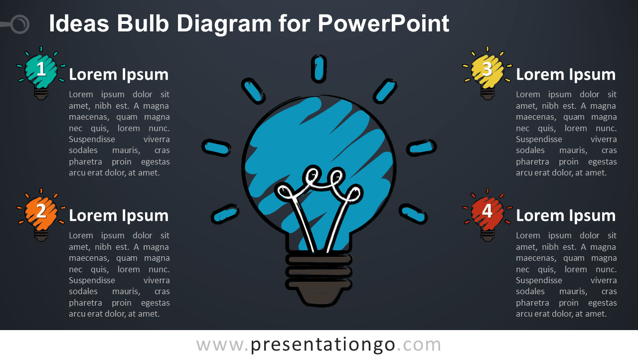 Sketch Light Bulb for PowerPoint - Dark Background