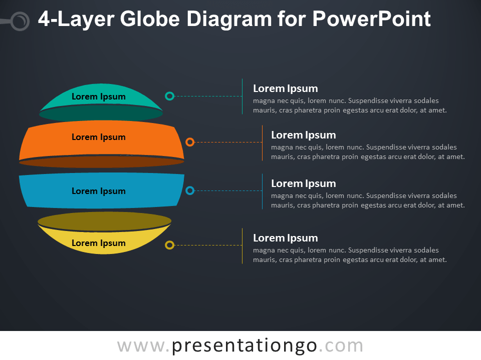 Free 4-Layer Globe Diagram for PowerPoint - Dark Background