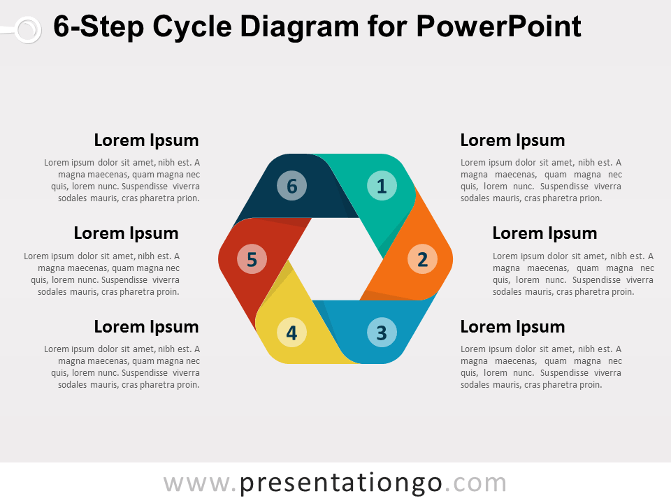 Free 6-Step Cycle Diagram for PowerPoint