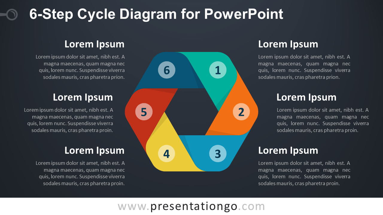 6   Step       Cycle       Diagram    for PowerPoint  PresentationGO