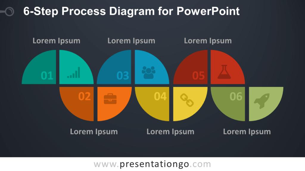 6-Step Process PowerPoint Diagram - Dark Background