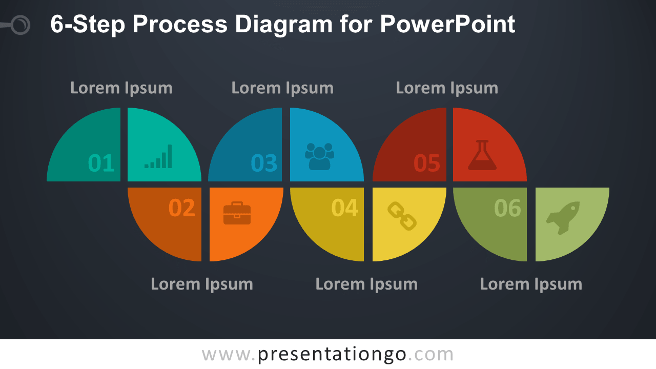 6-Step Process PowerPoint Diagram - Dark Background