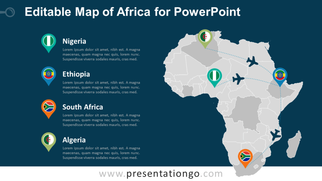 Free PowerPoint Map of Africa with Countries - Dark Background