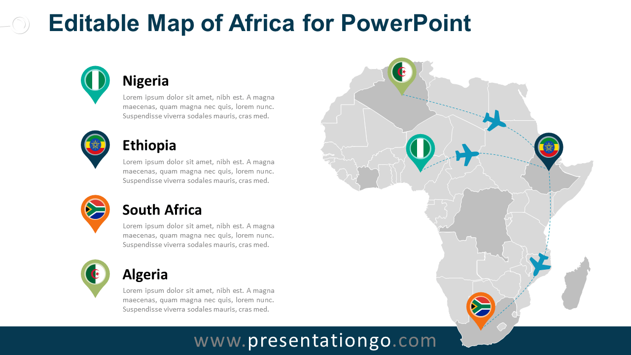 Africa editable powerpoint map presentationgo free powerpoint map of africa with countries ccuart Images