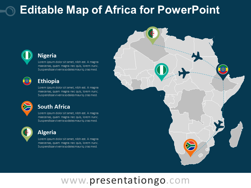 Free Editable Map of Africa for PowerPoint - Dark Background
