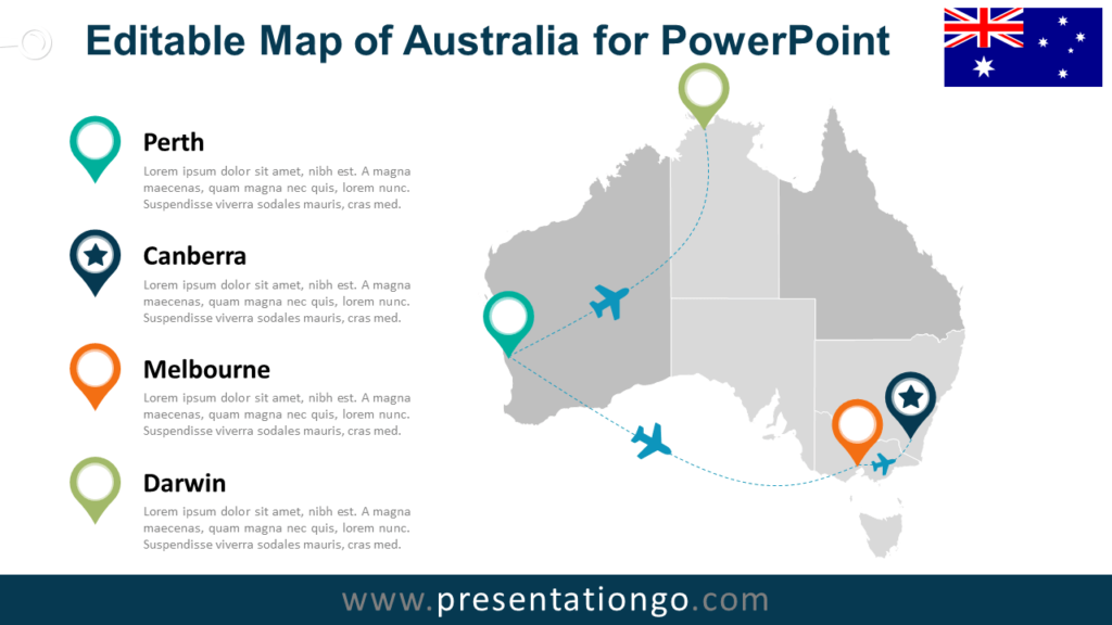 Free PowerPoint Map of Australia with States