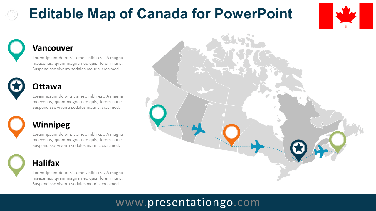 Free PowerPoint Map of Canada with Provinces