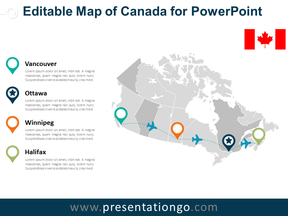 Canada Editable PowerPoint Map - PresentationGO.com