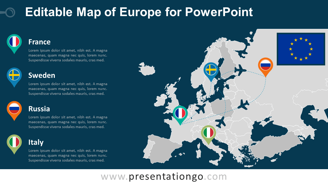 Nice Free Europe (EU) PowerPoint Map   Dark Background
