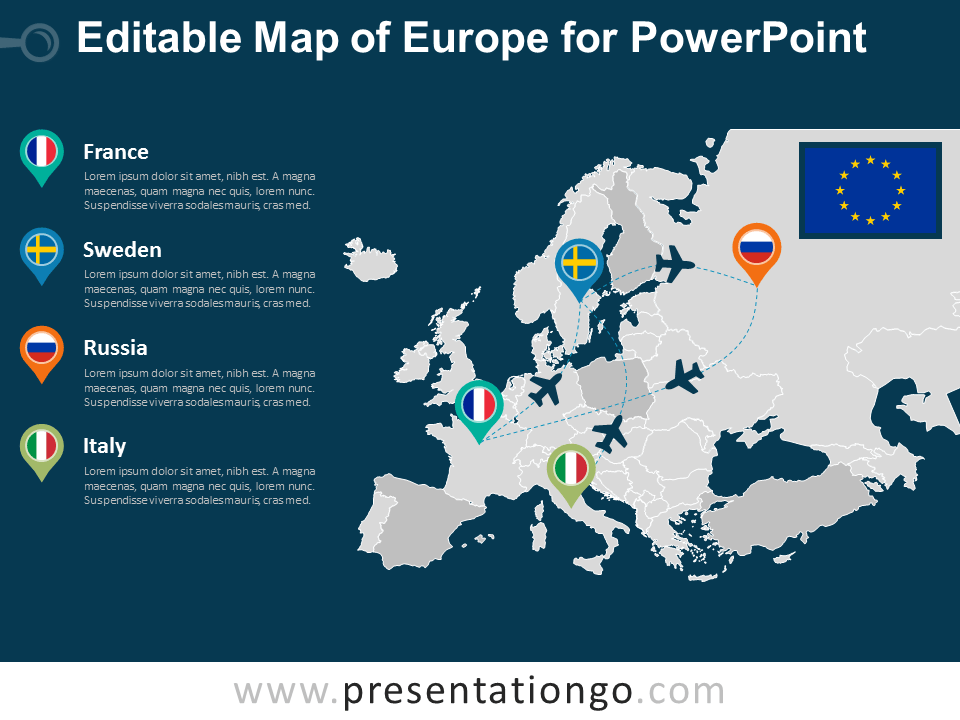 Free Europe PowerPoint Map - Dark Background