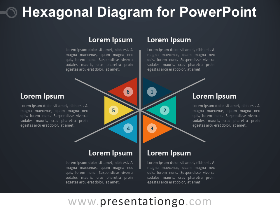 Hexagonal Diagram for PowerPoint - Dark