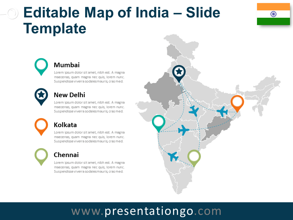 Free Map of India for PowerPoint and Google Slides