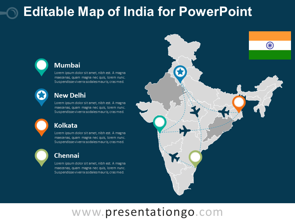 Free Editable India PowerPoint Map - Dark Background