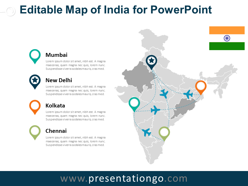 india editable powerpoint map presentationgo com