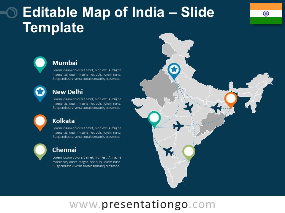 editable map of india India Editable Powerpoint Map Presentationgo Com editable map of india