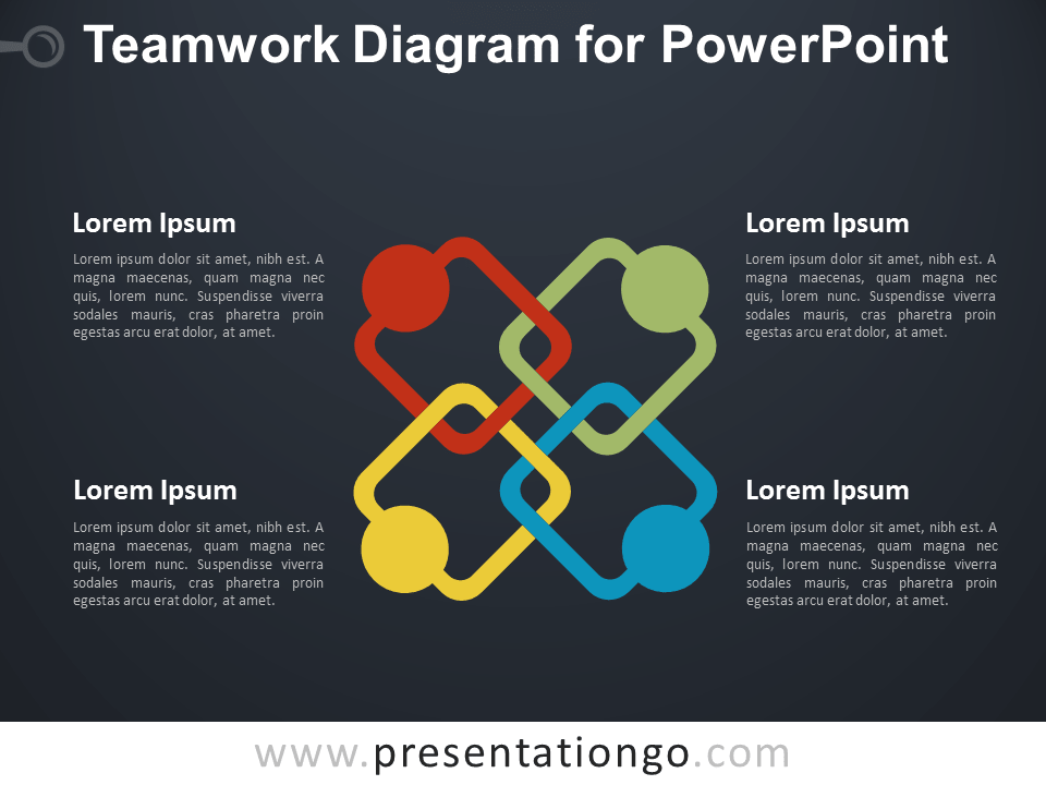 Free Teamwork PowerPoint Diagram - Dark Background