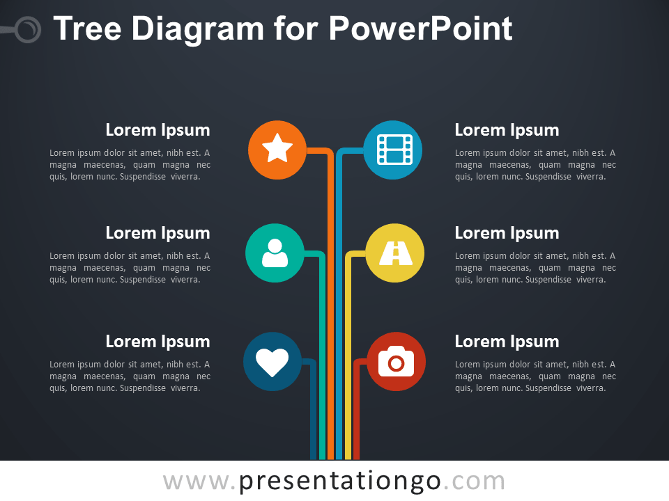 Free Tree Diagram for PowerPoint - Dark Background