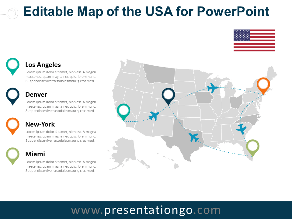 Usa editable powerpoint map for Oregon state powerpoint template