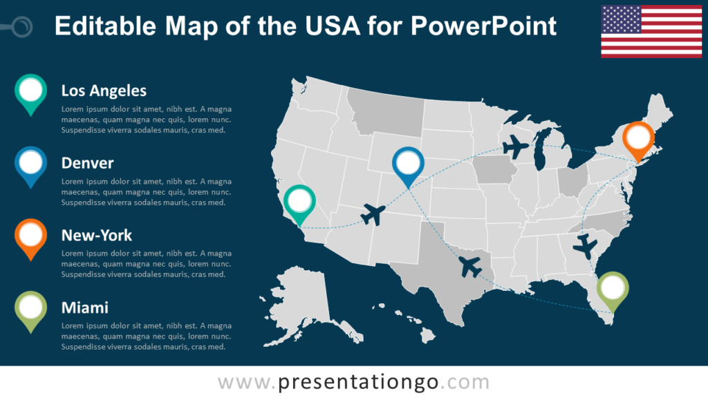 Free United States of America (USA) PowerPoint Map - Dark Background
