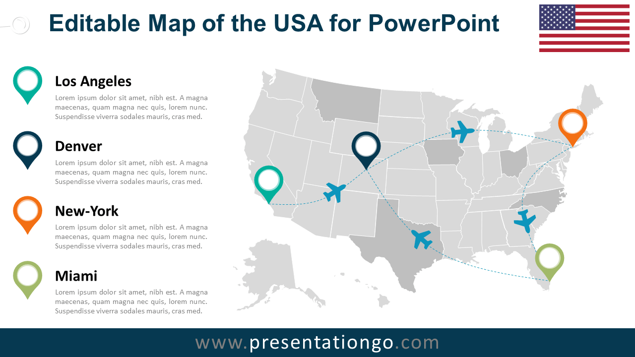 USA Editable PowerPoint Map PresentationGOcom - Powerpoint us map