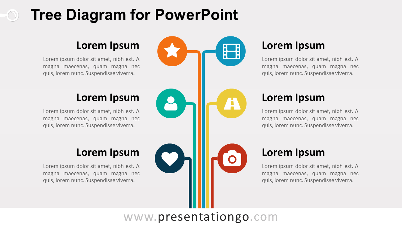 Free Vertical Colored Tree Diagram for PowerPoint