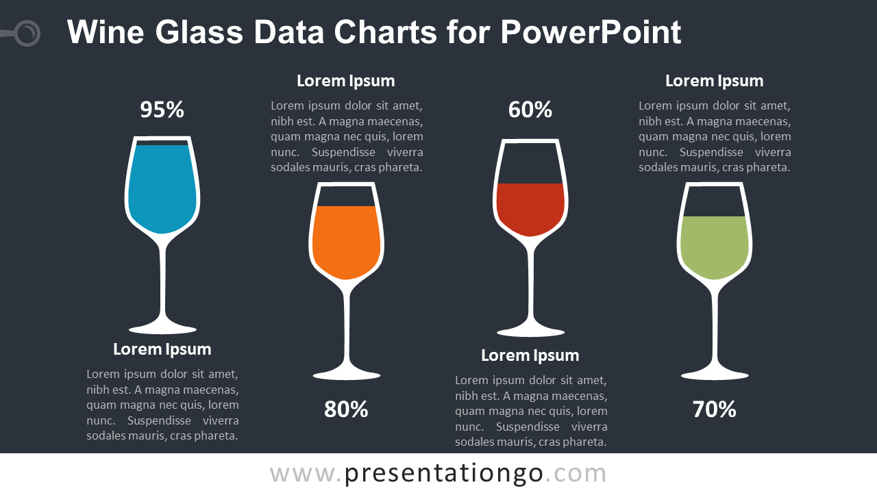 Wine Glass with Data Charts for PowerPoint - Dark Background