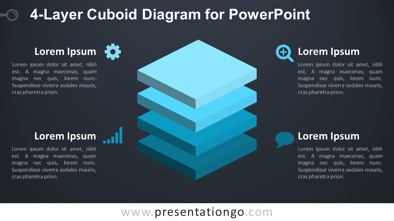 4-Layer Diagram for PowerPoint - Dark Background