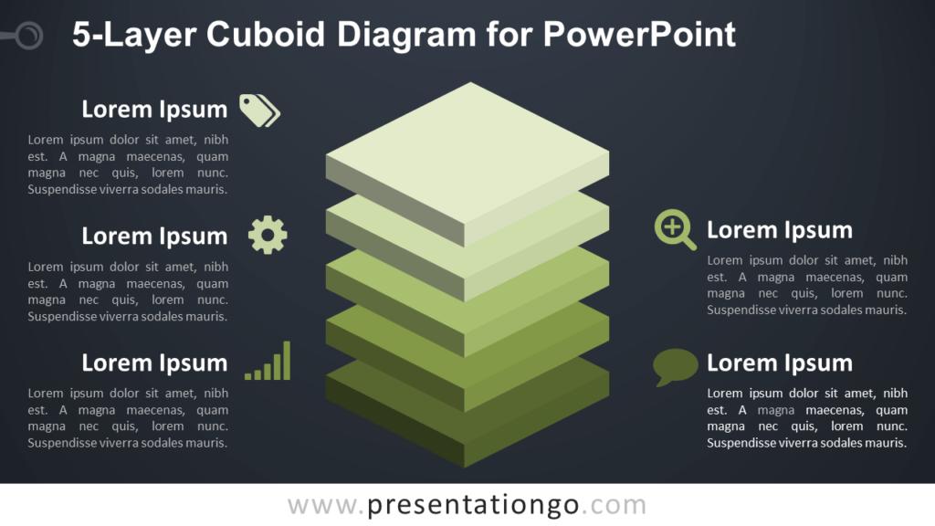 5-Layer Diagram for PowerPoint - Dark Background