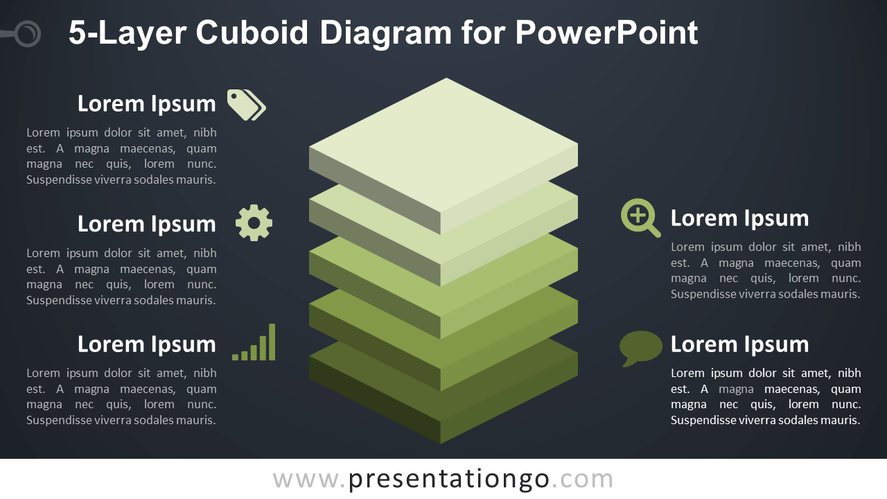 5-Layer Diagram for PowerPoint - Dark Background