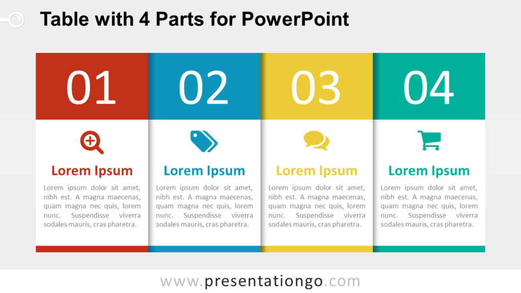 Free 4-Part Table Diagram for PowerPoint