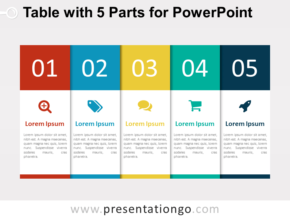 5 part table diagram for powerpoint