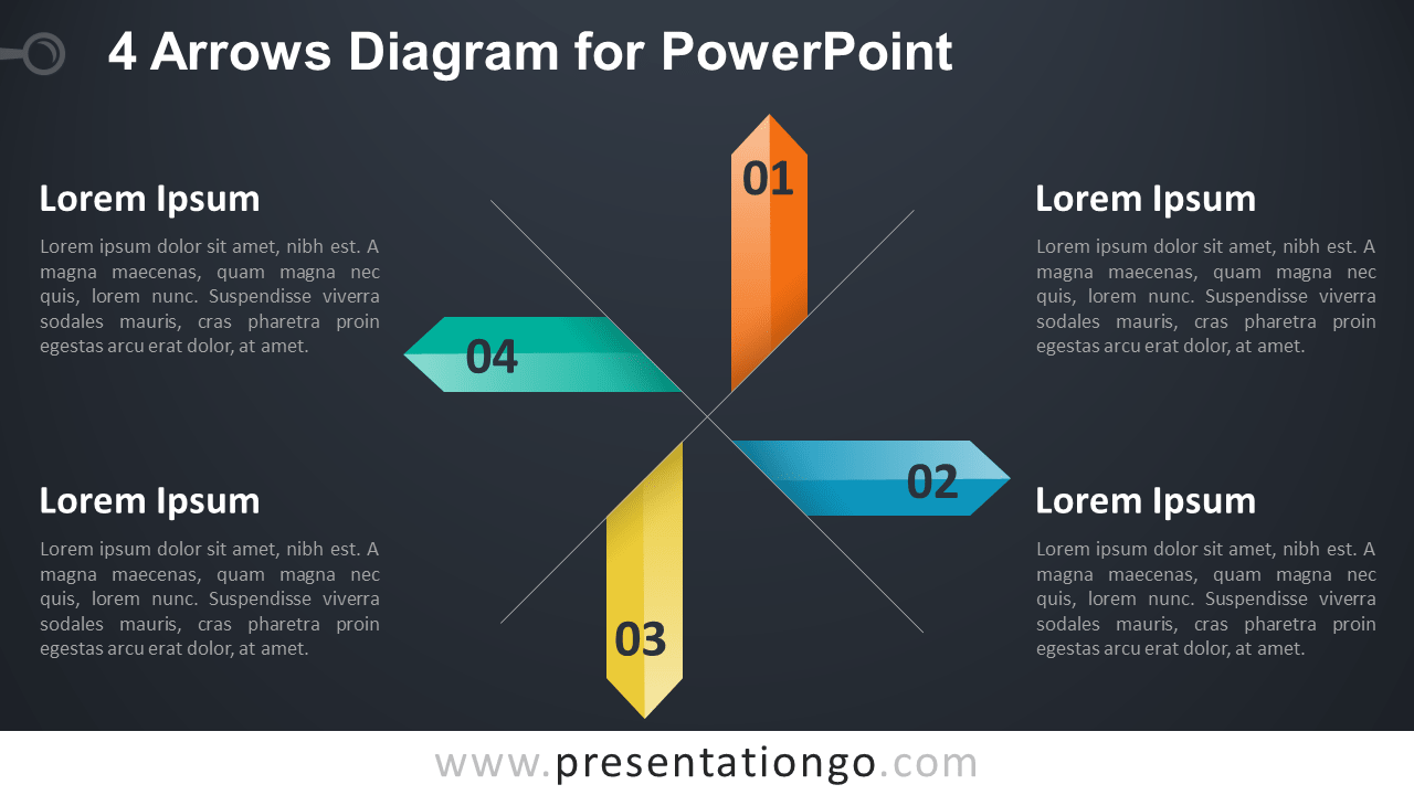 4 Arrows Diagram for PowerPoint Template - Dark Background