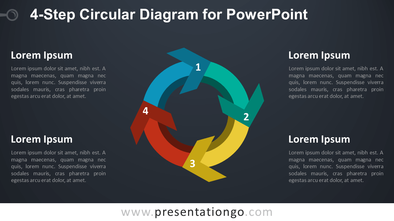 4-Step Circular Diagram with Arrows for PowerPoint - Dark Background