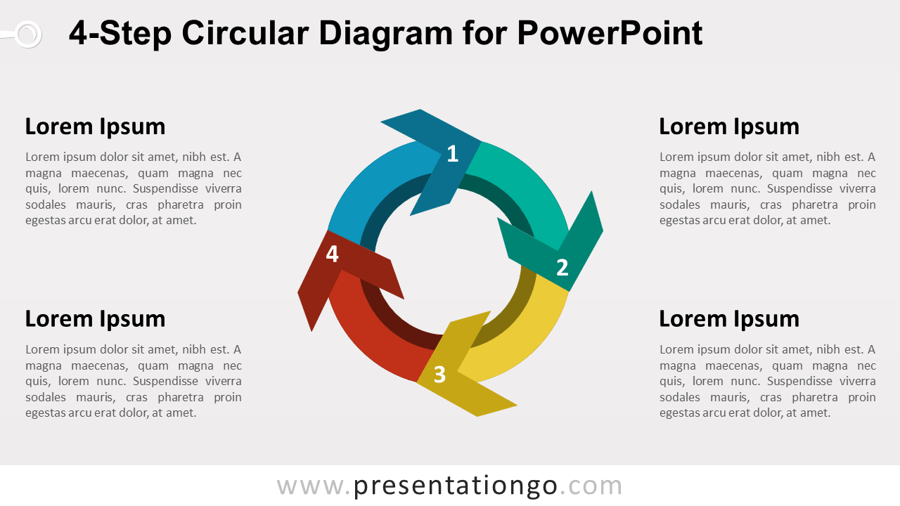 4-Step Circular Diagram with Arrows for PowerPoint