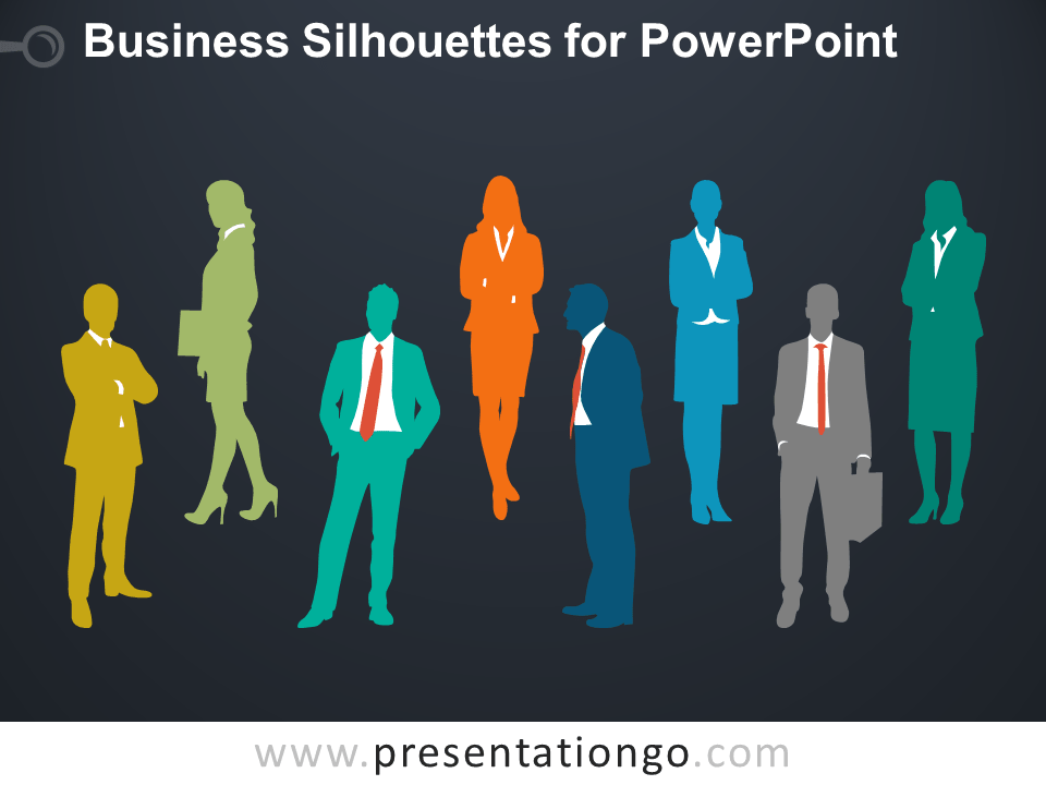 Business People Silhouettes for PowerPoint - Dark Background