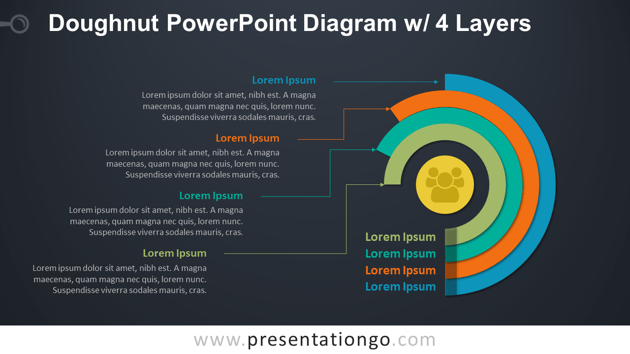doughnut powerpoint diagram w   4 layers