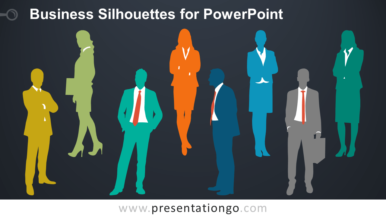 Editable Business People Silhouettes for PowerPoint - Dark Background