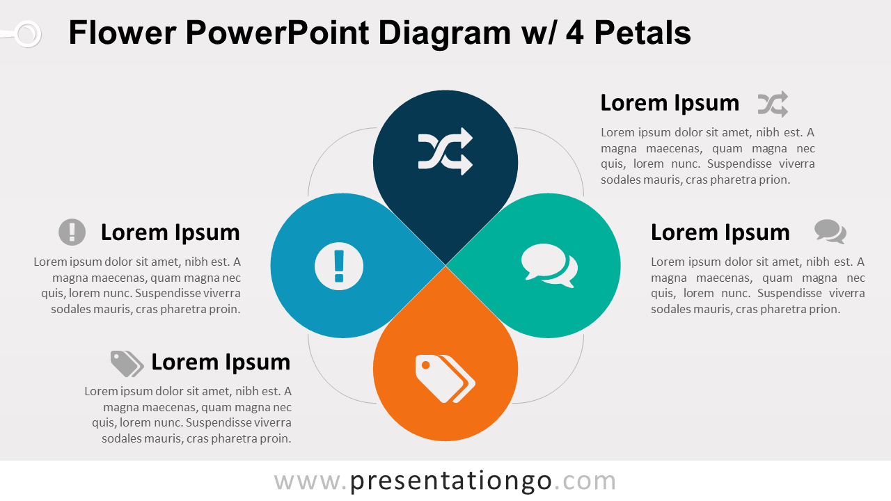 Flower Diagram with 4 Petals - PowerPoint Template